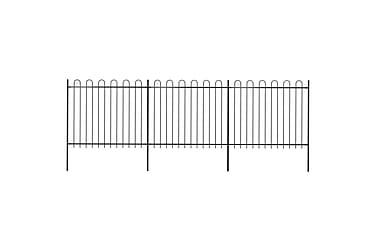 Hagegjerde med buet topp stål 5,1x1,5 m svart