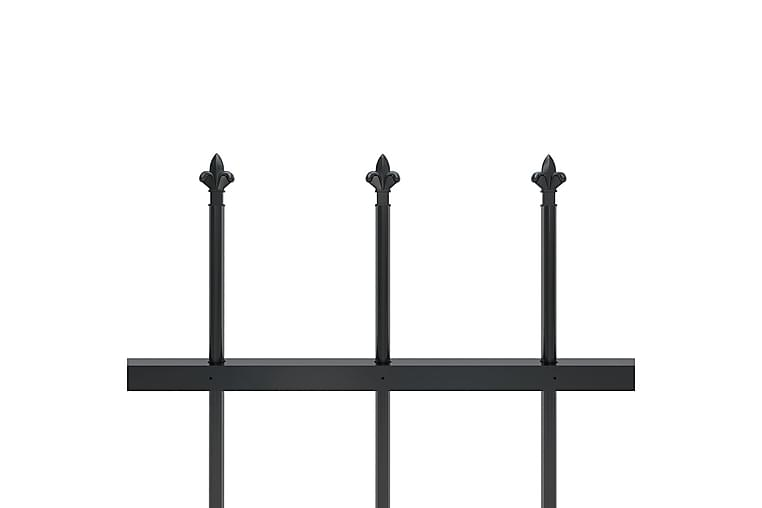 Hagegjerde med spydtopp 13,6x1,5 m stål svart - Svart - Hage - Hagedekorasjon & utemiljø - Gjerder & Grinder