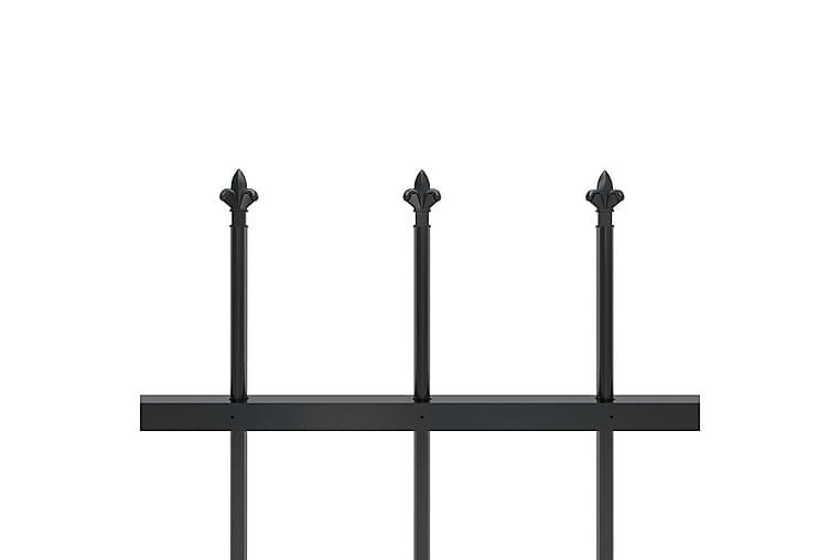 Hagegjerde med spydtopp 6,8x0,8 m stål svart - Svart - Hage - Hagedekorasjon & utemiljø - Gjerder & Grinder