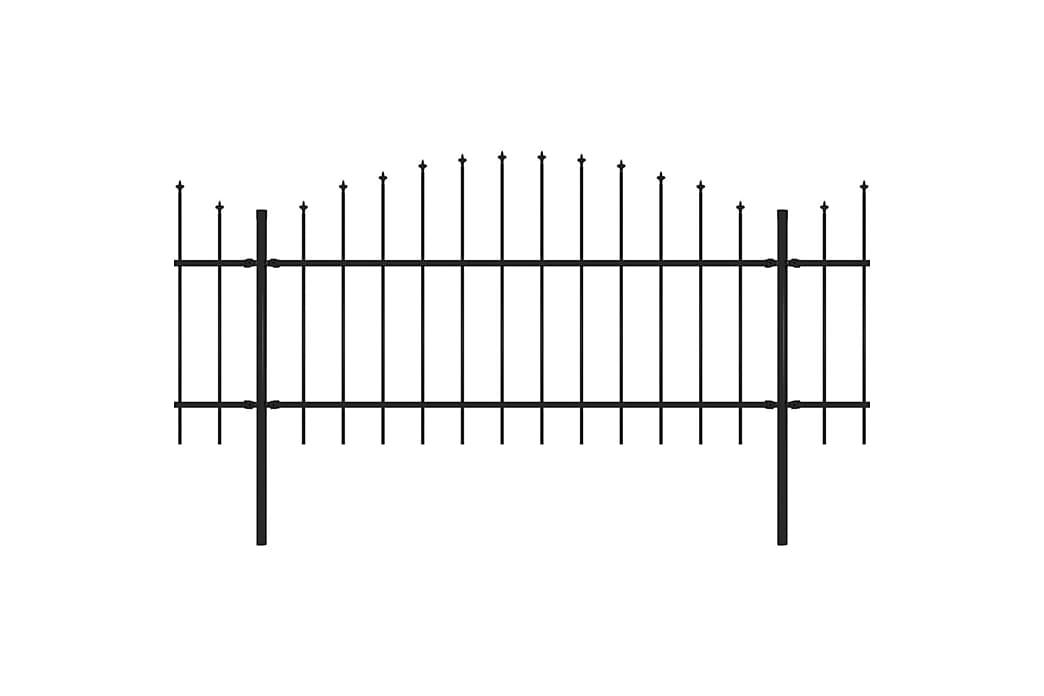 Hagegjerde med spydtopp stål (1-1,25)x10,2 m svart - Hage - Hagedekorasjon & utemiljø - Gjerder & Grinder
