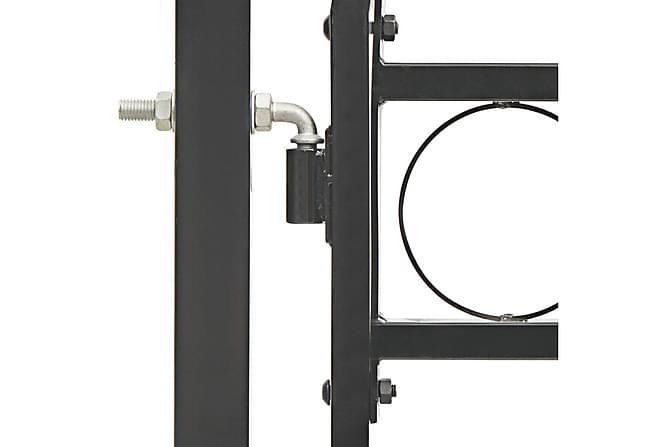 Hageport med buet topp stål 100x125 cm svart - Hage - Hagedekorasjon & utemiljø - Gjerder & Grinder