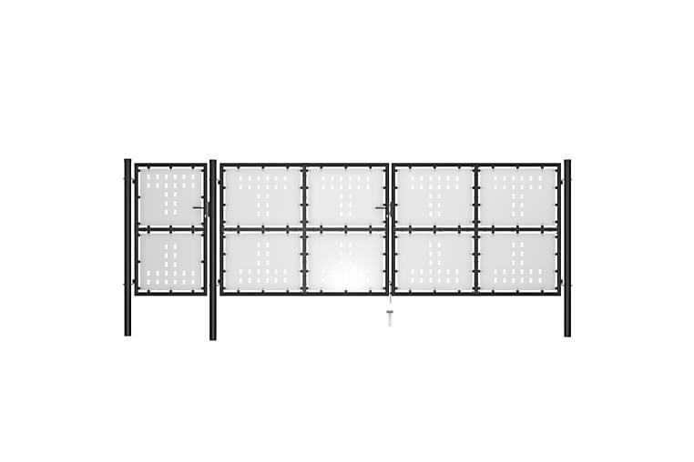 Hageport stål 500x150 cm svart - Svart - Hage - Hagedekorasjon & utemiljø - Gjerder & Grinder