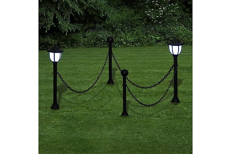 Kjettinggjerde med to soldrevne LED-lamper - Hage - Hagedekorasjon & utemiljø - Gjerder & Grinder