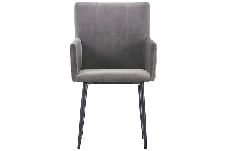 Spisestoler med armlener 2 stk grå fløyel - Grå - Hage - Hagedekorasjon & utemiljø - Gjerder & Grinder
