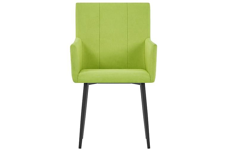 Spisestoler med armlener 2 stk grønn stoff - Grønn - Hage - Hagedekorasjon & utemiljø - Gjerder & Grinder