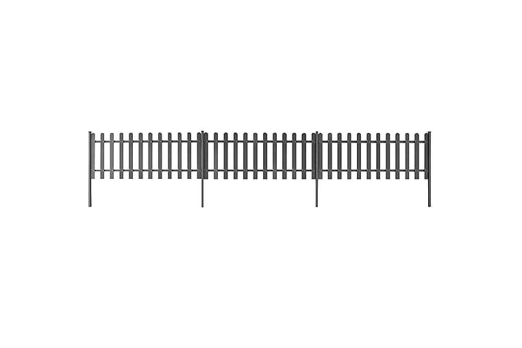 Stakittgjerde med stolper 3 stk WPC 600x60 cm - Grå - Hage - Hagedekorasjon & utemiljø - Gjerder & Grinder