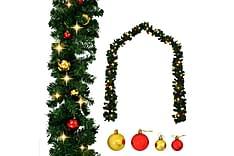 Garland dekorert med julekuler og LED-lys 10 m