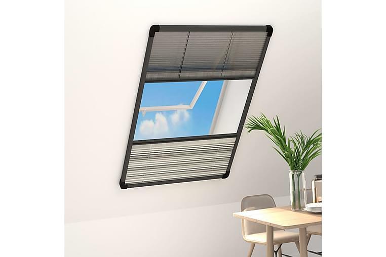 Plissert insektskjerm for vindu aluminium 100x160 cm - Antrasittgrå - Hage - Hagedekorasjon & utemiljø - Myggnett