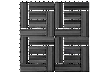 Terrassebord 11 stk WPC 30x30 cm 1 kvm svart