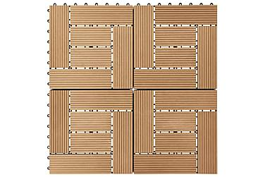 Terrassebord 11 stk WPC 30x30 cm 1 kvm teak-farget