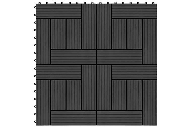Terrassebord 22 stk 30x30 cm 2 kvm WPC svart - Svart - Hage - Hagedekorasjon & utemiljø - Terrassebord