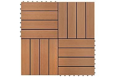 Terrassebord 22 stk 30x30cm 2 kvm WPC brun