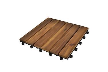 Terrassebord Vertikalt Mønster 30x30 cm Akasie Sett med 20