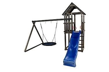 Leketårn med Saltak inkl. blå Rutsjebane og blå fågelbogun
