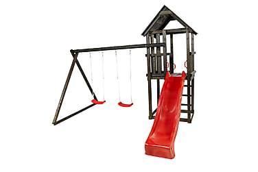 Leketårn med Saltak inkl. Rød Rutsjebane og gungsitsar