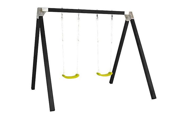 Luksus Huskestativ grunnmalt i svart med 2 grønne seter - Hage - Hobby & lek - Lekeplass & lekeplassutstyr
