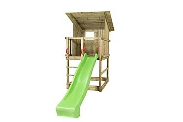 Plus Play Leketårn med Skråtak inkl. Grønn Rutsjebane