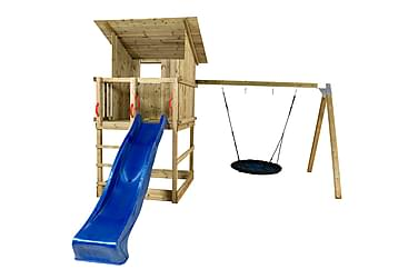 Plus Play Leketårn med Skråtak inkl. Husketid blå Rutsjebane