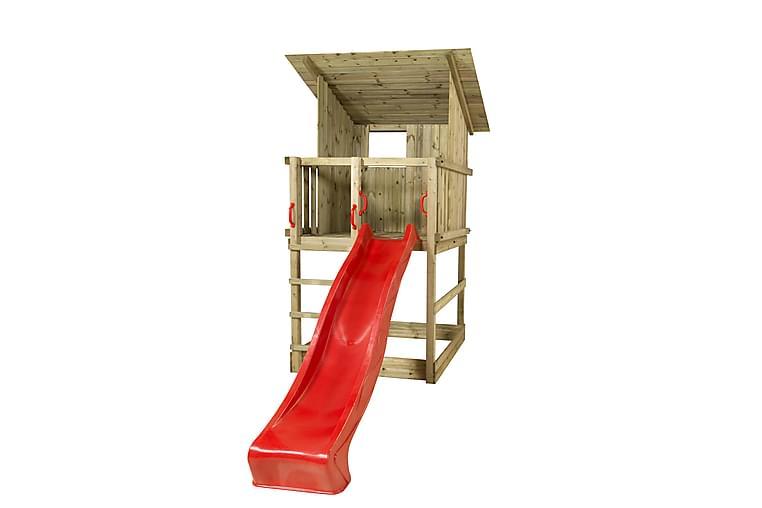 Plus Play Leketårn med Skråtak inkl. Rød Rutsjebane - Hage - Hobby & lek - Lekeplass & lekeplassutstyr