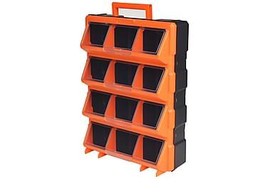 Bærbar veggmonterbar verktøykasse med 12 rom