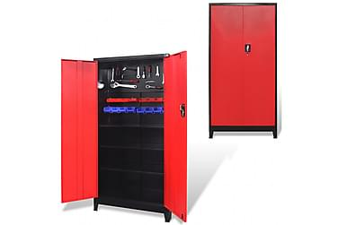 Verktøyskap med 2 dører stål 90x40x180 cm svart og rød