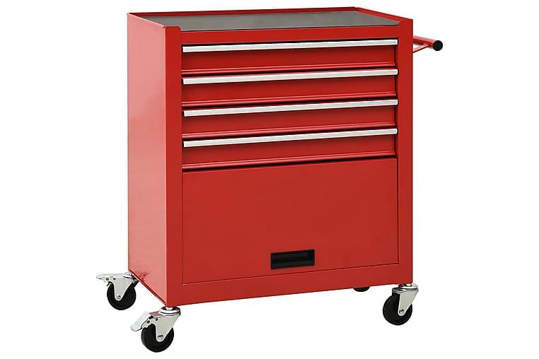 Verktøytralle med 4 skuffer stål rød - Rød - Hage - Utendørsoppbevaring - Garasjeinteriør & garasjeoppbevarin