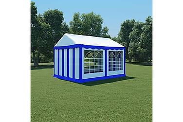 Hagetelt PVC 3x4 m blå og hvit