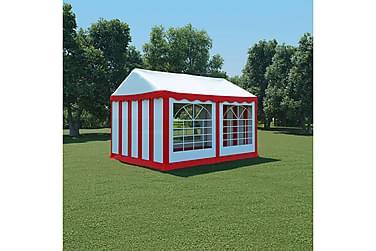 Hagetelt PVC 3x4 m rød og hvit