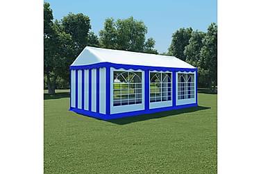Hagetelt PVC 3x6 m blå og hvit