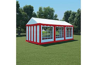 Hagetelt PVC 3x6 m rød og hvit