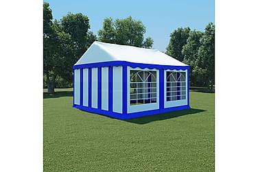 Hagetelt PVC 4x4 m blå og hvit