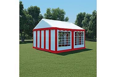 Hagetelt PVC 4x4 m rød og hvit