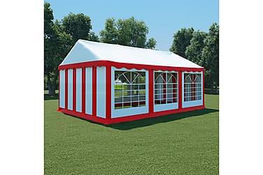 Hagetelt PVC 4x6 m rød og hvit