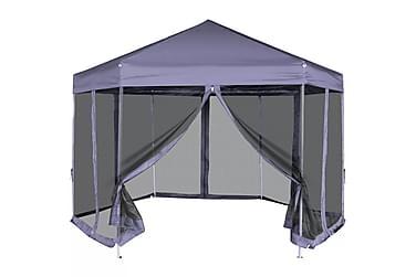 Sekskantet popup partytelt med 6 sidevegger mørk blå 3,6x3,1