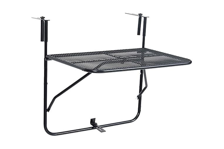 Balkongbord svart 60x40 cm stål - Svart - Hagemøbler - Balkongmøbler - Balkongbord