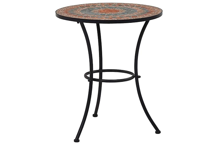 Mosaikkbistrobord oransje/grå 60 cm keramikk - Oransj - Hagemøbler - Hagebord - Sidebord