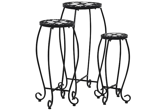 Mosaikkbord 3 stk svart og hvit keramikk - Svart - Hagemøbler - Velg etter materiale - Kunstrotting