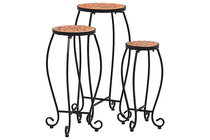 Mosaikkbord 3 stk terrakotta keramikk - Oransj - Hagemøbler - Velg etter materiale - Kunstrotting