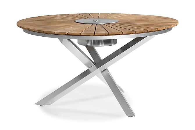 Båstad Spisebord 150 cm Rundt - Teak/Børstet Aluminium - Hagemøbler - Velg etter materiale - Tre & teak