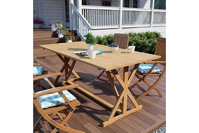 Gallegos Spisegruppe 180x90 + 4 Karmstoler - Teak - Hagemøbler - Hagebord - Spisebord