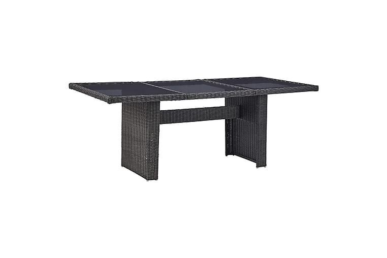 Hagebord svart 200x100x74 cm glass og polyrotting - Svart - Hagemøbler - Hagebord - Spisebord