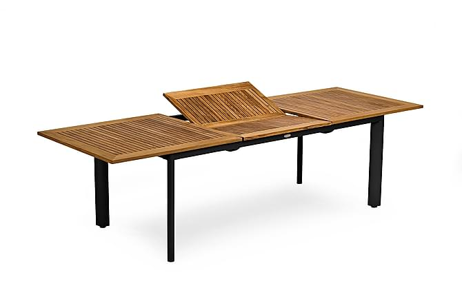 Hillerstorp Nydala Forlengningsbart Bord 96x200-280 cm - Teak/Svart - Hagemøbler - Hagebord - Spisebord