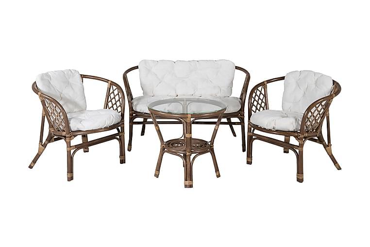 Wang Loungegruppe 4-seter - Natur / Hvit - Hagemøbler - Hagebord - Spisebord