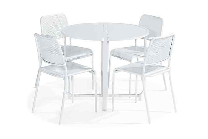 Flippy Cafégruppe 90 Rund + 4 Logan Stol med Armlener - Hvit - Hagemøbler - Spisegrupper hage - Cafégrupper