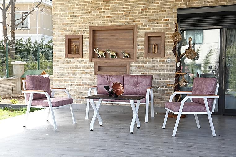 Sebenoba Byz Cafésett 128 cm + 2-seters Sofa + 2 Lenestoler - Hvit / Rosa - Hagemøbler - Spisegrupper hage - Cafégrupper