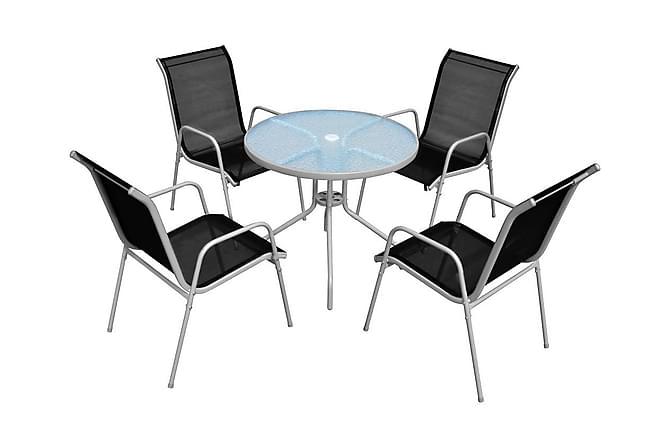 Allentown Cafégruppe 80 Rund + 4 Karmstoler - Glass/Grå/Svart/Stål - Hagemøbler - Spisegrupper hage - Komplette spisegrupper