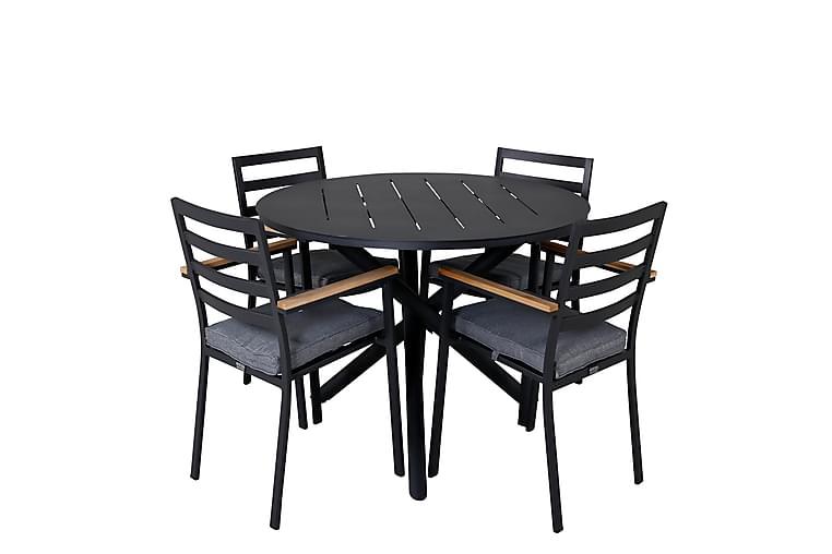 Almedalen Spisegruppe Rund 120 cm + 4 Brasilia Karmstoler - Svart - Hagemøbler - Spisegrupper hage - Komplette spisegrupper