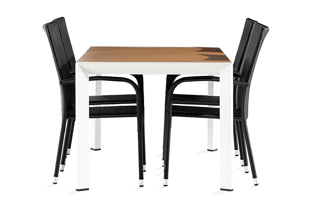 Demple Spisegruppe 150 cm + 4 Thor Light Stoler - Hvit/Brun/Svart - Hagemøbler - Spisegrupper hage - Komplette spisegrupper
