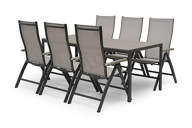 Hillerstorp Åminne Spisegruppe 85x190 + 6 Posisjonsstoler - Hvit/Grå - Hagemøbler - Spisegrupper hage - Komplette spisegrupper