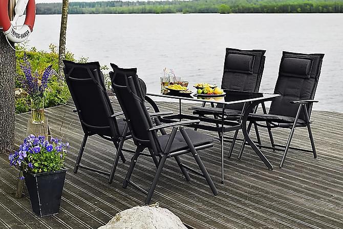 Hillerstorp Bredared Spisegruppe 80x140+4 Posisjonsstol Pute - Glass/Svart/Mørkegrå - Hagemøbler - Spisegrupper hage - Komplette spisegrupper